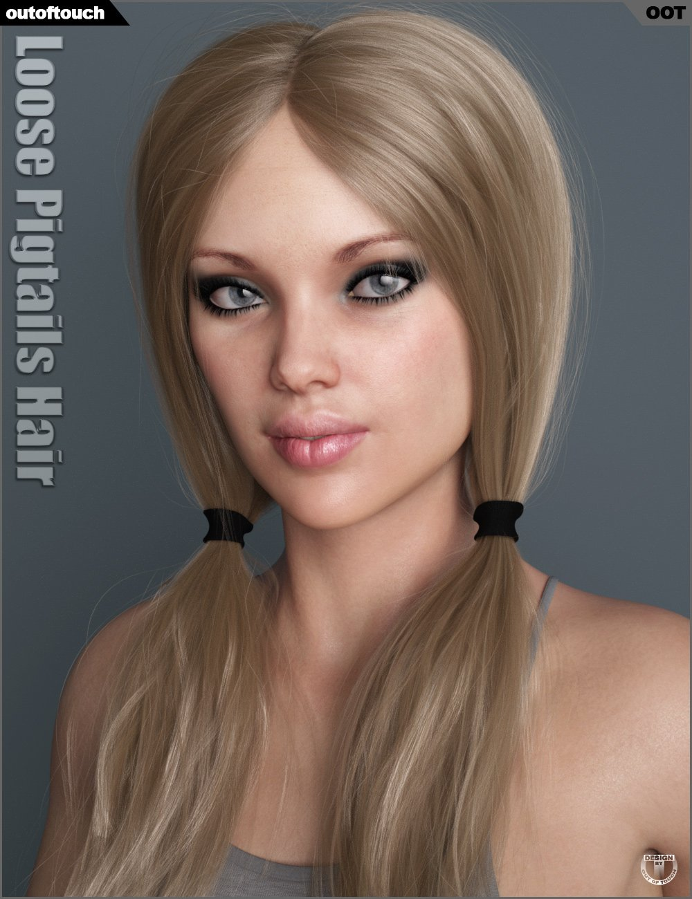 Loose Pigtails Hair for Genesis 3 and 8 Female(s) by: outoftouch, 3D Models by Daz 3D