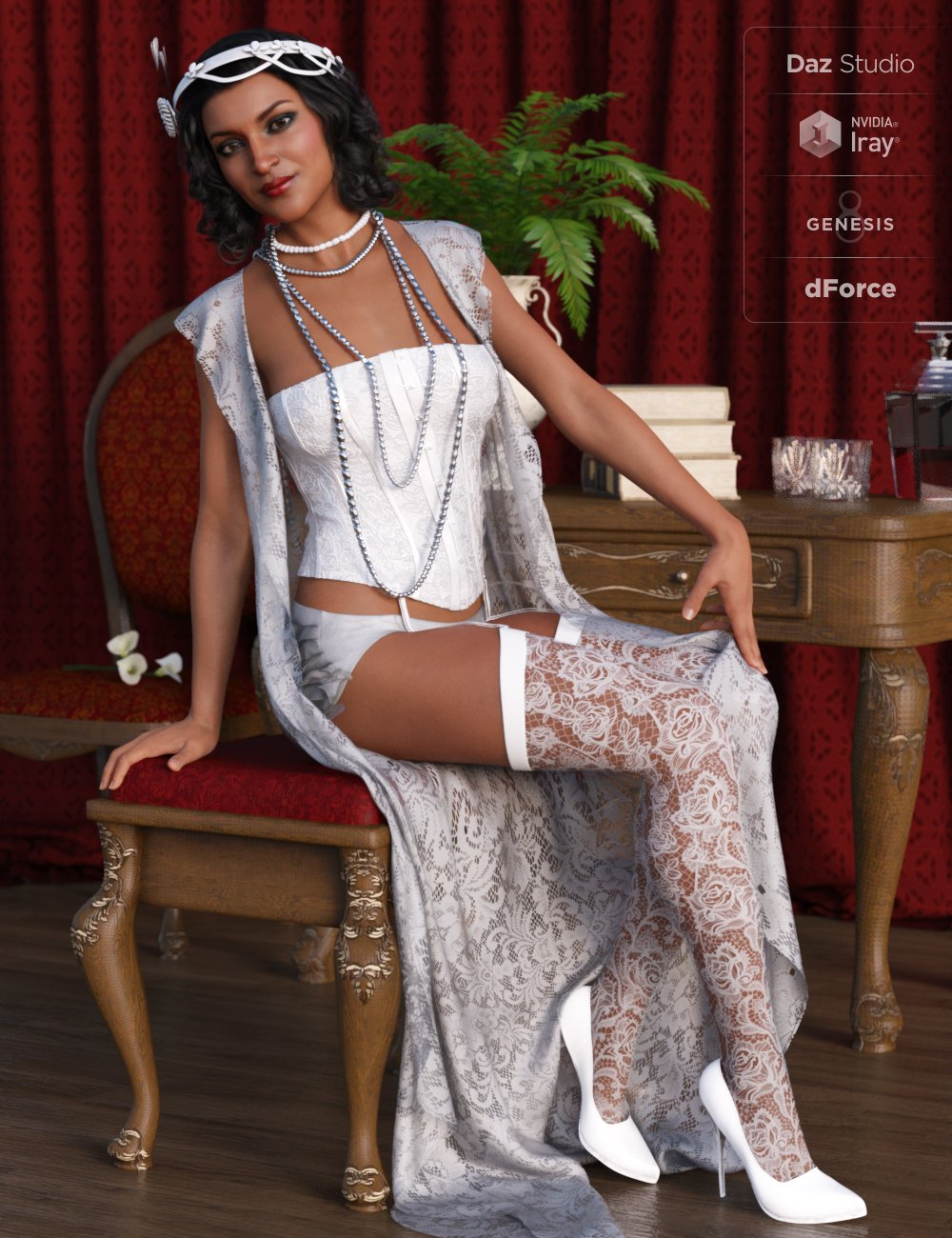 dForce 1920s Boudoir Outfit for Genesis 8 Female(s) by: Barbara BrundonMoonscape GraphicsSade, 3D Models by Daz 3D