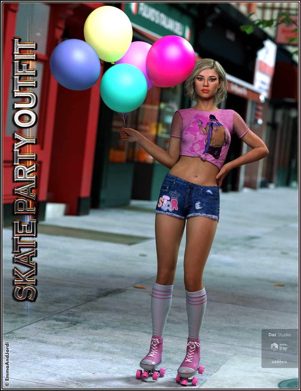 Skate Party Outfit and Poses For Genesis 8 Female(s) by: EmmaAndJordi, 3D Models by Daz 3D