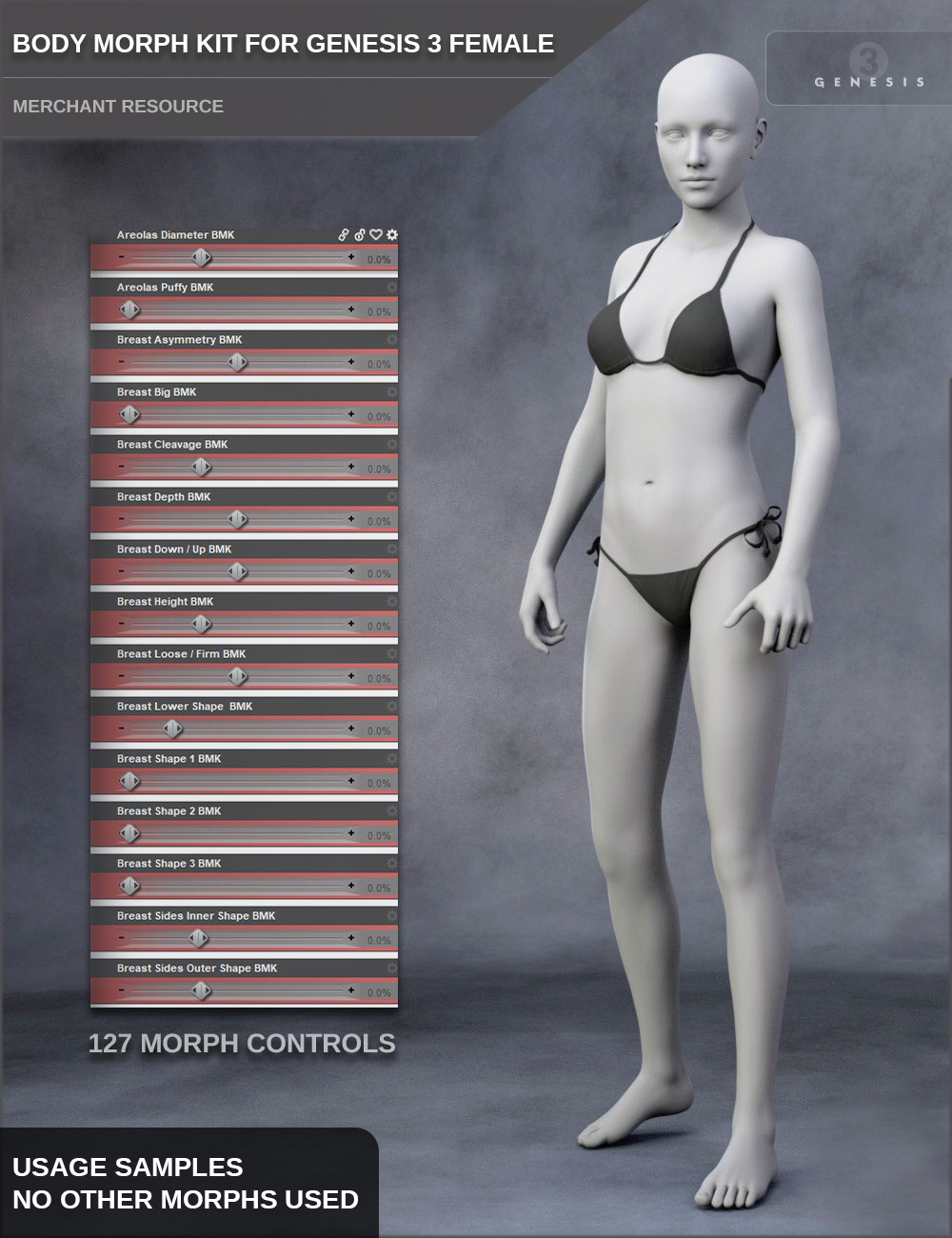 Body Morph Kit for Genesis 3 Female and Merchant Resource by: SF-Design, 3D Models by Daz 3D