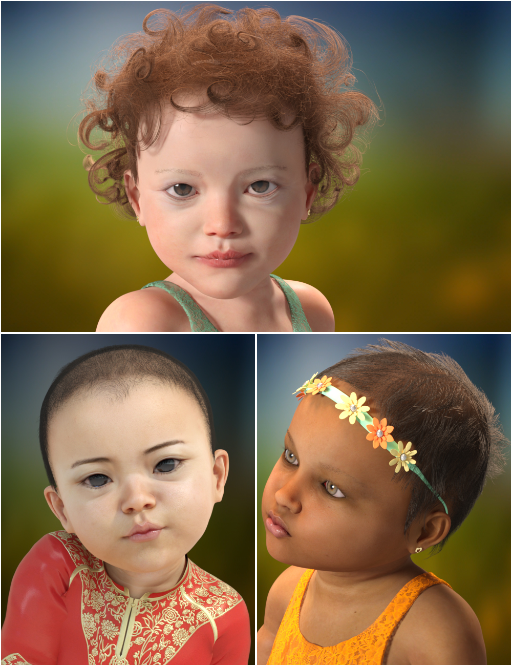 Cute Baby Hairs for Genesis 8 Female(s) by: Virtual_World, 3D Models by Daz 3D