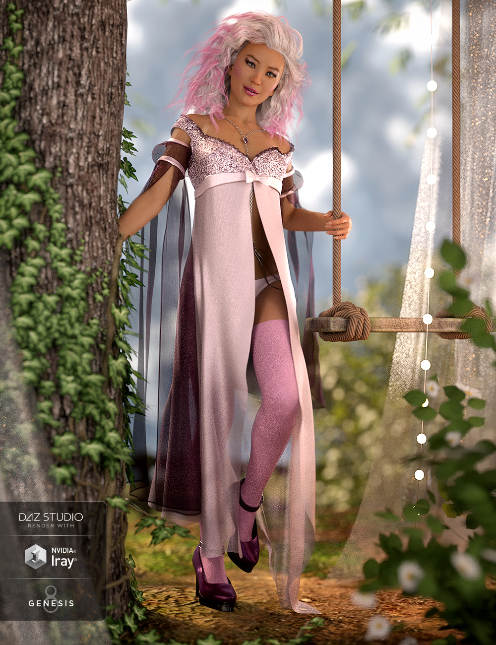 dForce Nightingale Outfit for Genesis 8 Female(s) by: Moonscape GraphicsSadeBarbara BrundonUmblefugly, 3D Models by Daz 3D