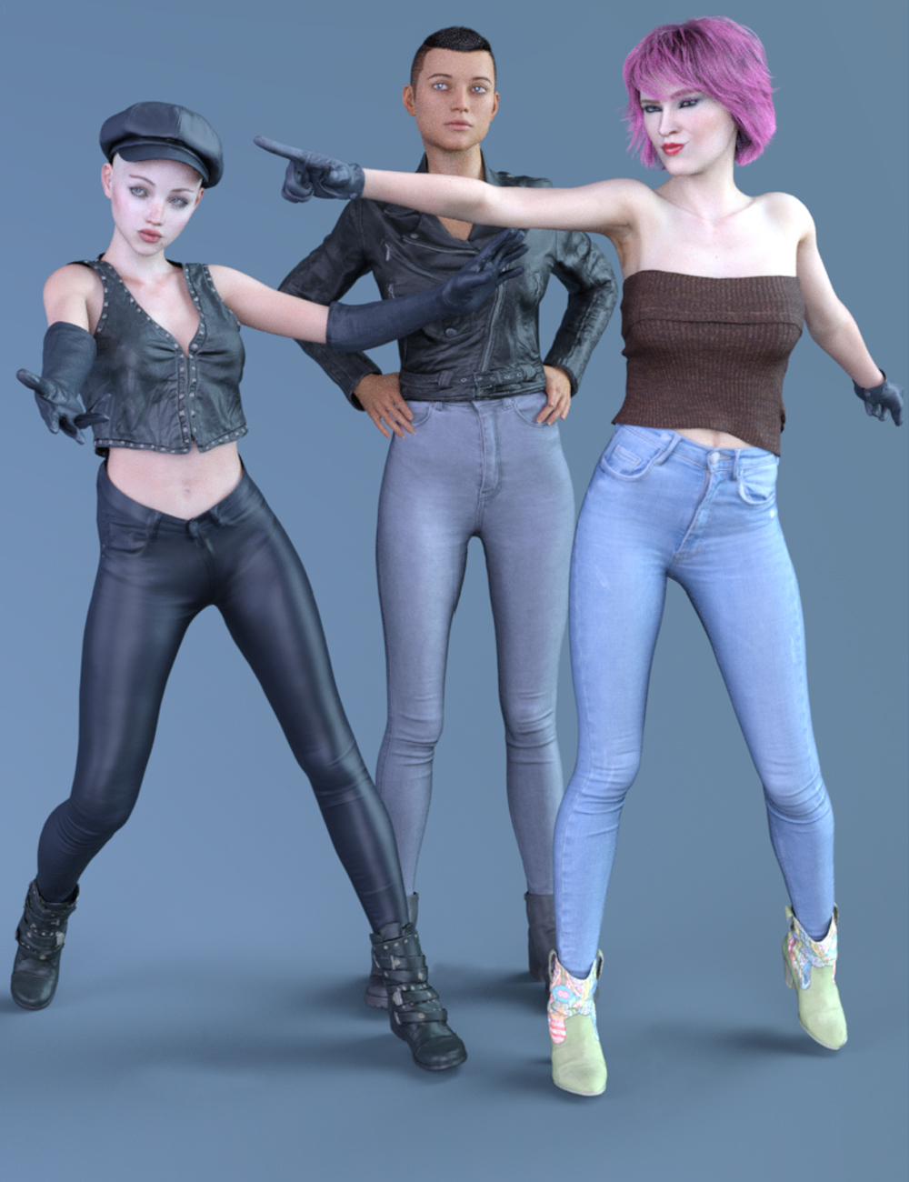 3 Pant Collection for Genesis 8 Female(s) by: Polygonal Miniatures, 3D Models by Daz 3D