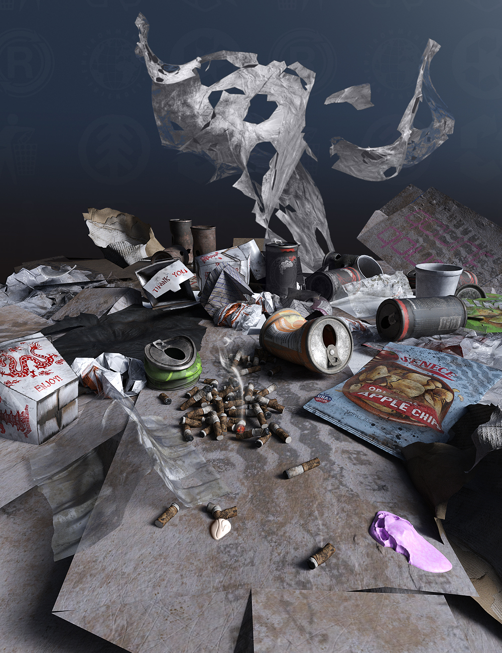 Street Trash Collection by: The AntFarm, 3D Models by Daz 3D