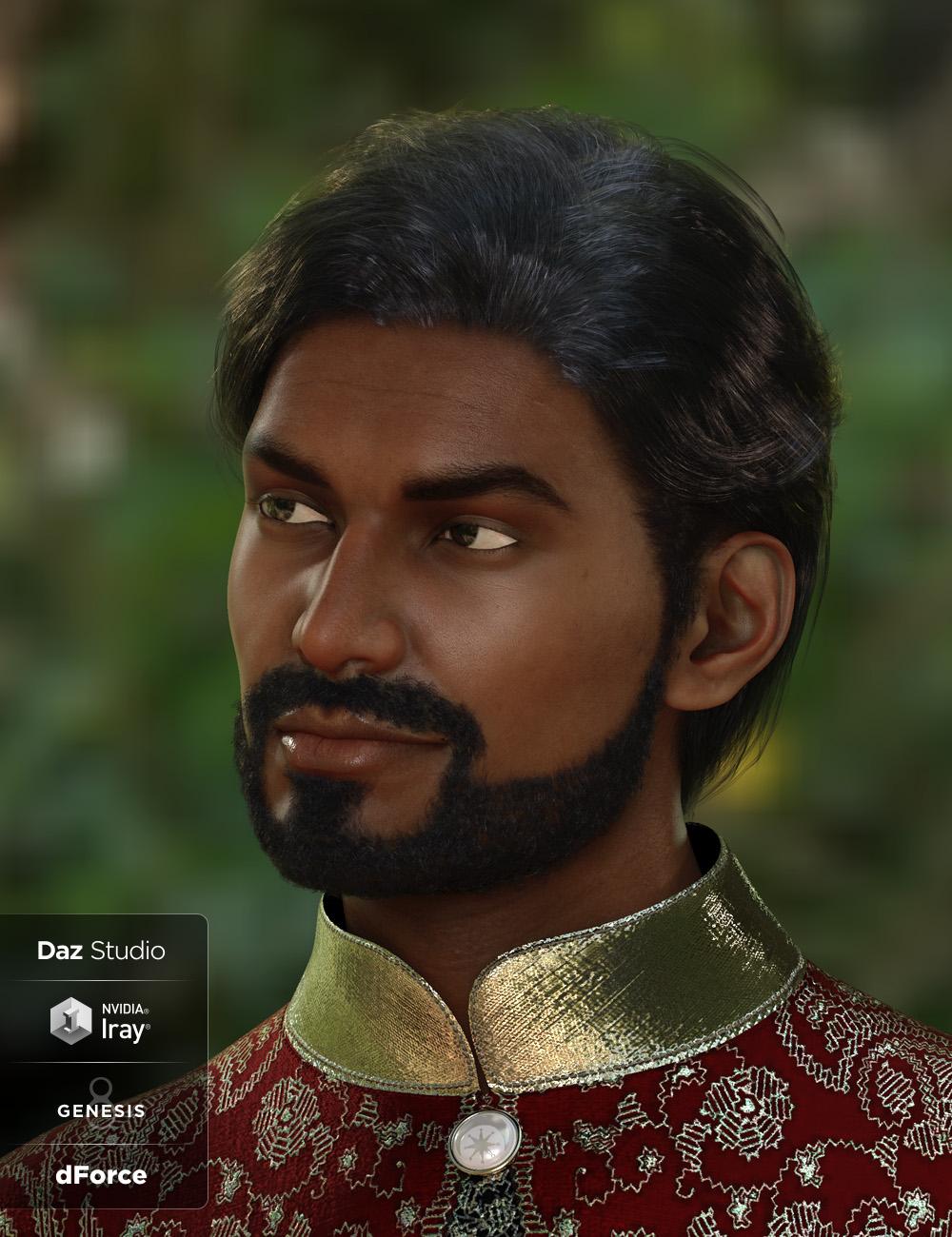 dforce Sanjay Hair and Beard for Genesis 8 Male(s) by: Lady Littlefox, 3D Models by Daz 3D