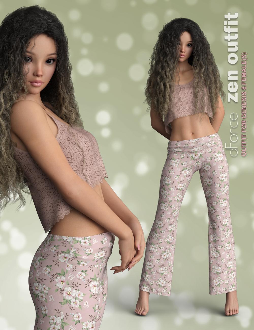 dForce P3D Zen Outfit for Genesis 8 Female by: P3Design, 3D Models by Daz 3D