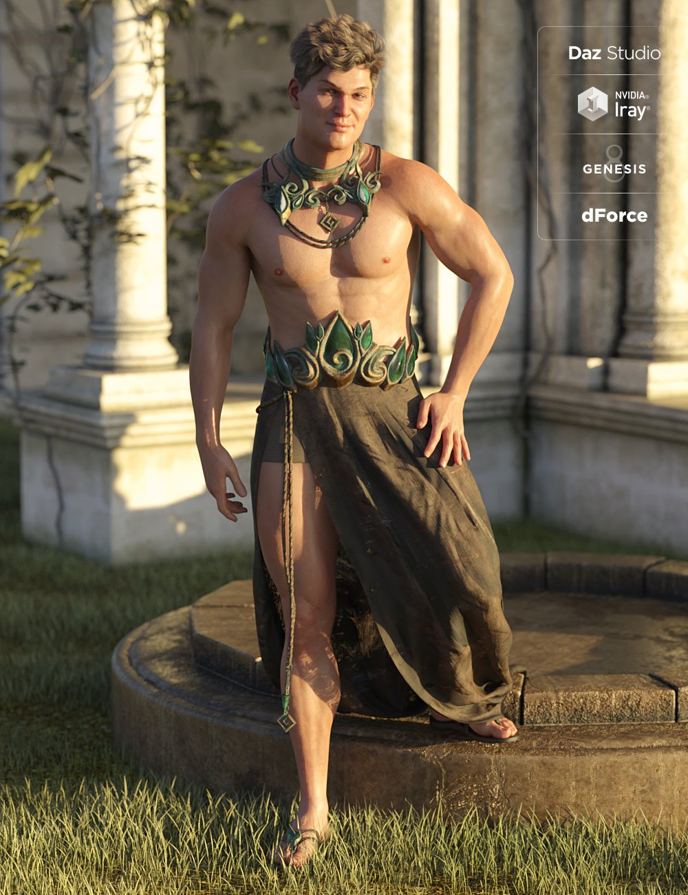 dForce Aegis Outfit for Genesis 8 Male(s) by: MadaMoonscape GraphicsSade, 3D Models by Daz 3D