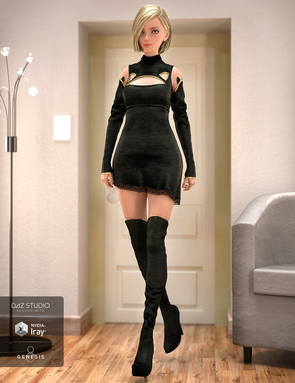 Panther Outfit for Genesis 8 Female(s) by: 4blueyes, 3D Models by Daz 3D