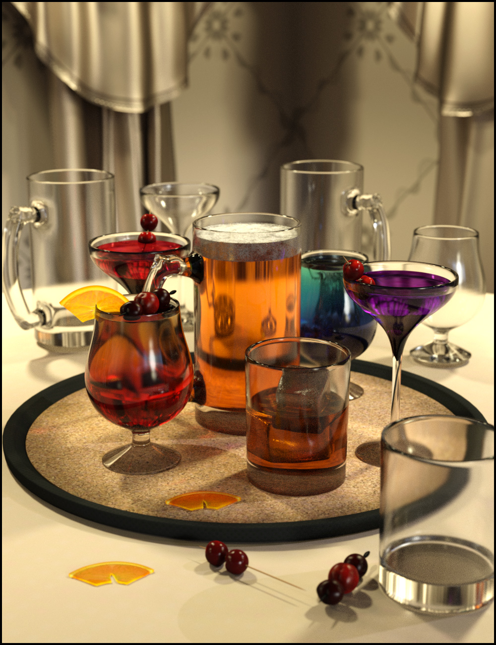Cheers Drink Tray and Drinks by: ARTCollab, 3D Models by Daz 3D