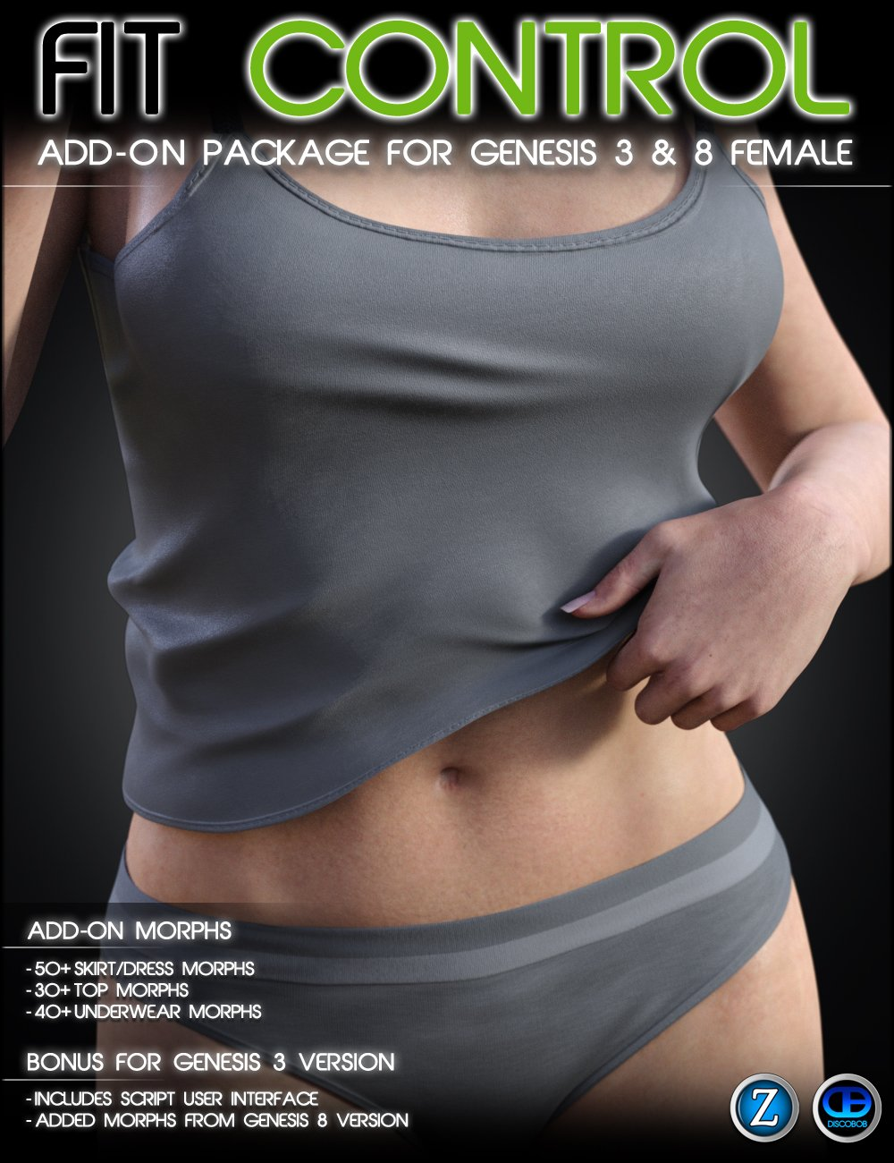 Fit Control Add-On for Genesis 3 & 8 Female by: Zev0Discobob, 3D Models by Daz 3D
