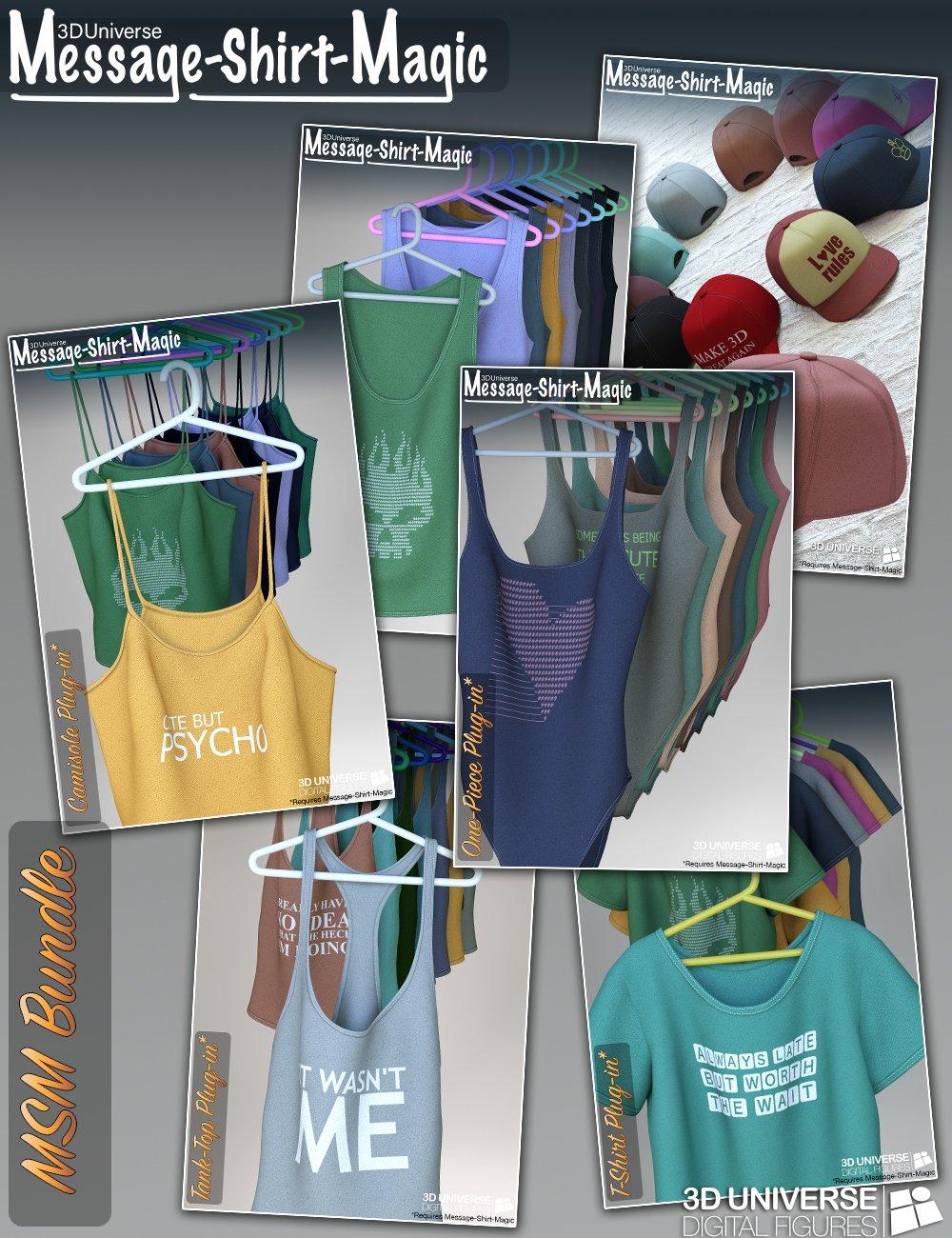 Message-Shirt-Magic Bundle for Genesis 8 Female(s) by: 3D Universe, 3D Models by Daz 3D