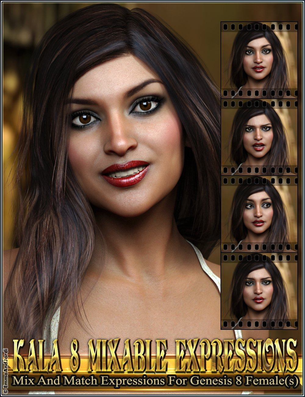 Mixable Expressions for Kala 8 and Genesis 8 Female(s) by: , 3D Models by Daz 3D