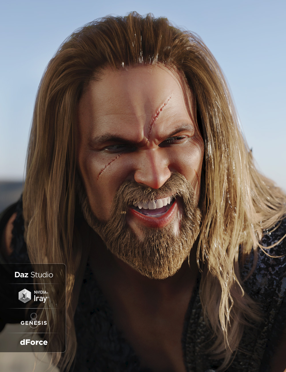 Drago Hair and Beard with dForce for Genesis 3 and Genesis 8 Male(s) by: Lady Littlefox, 3D Models by Daz 3D