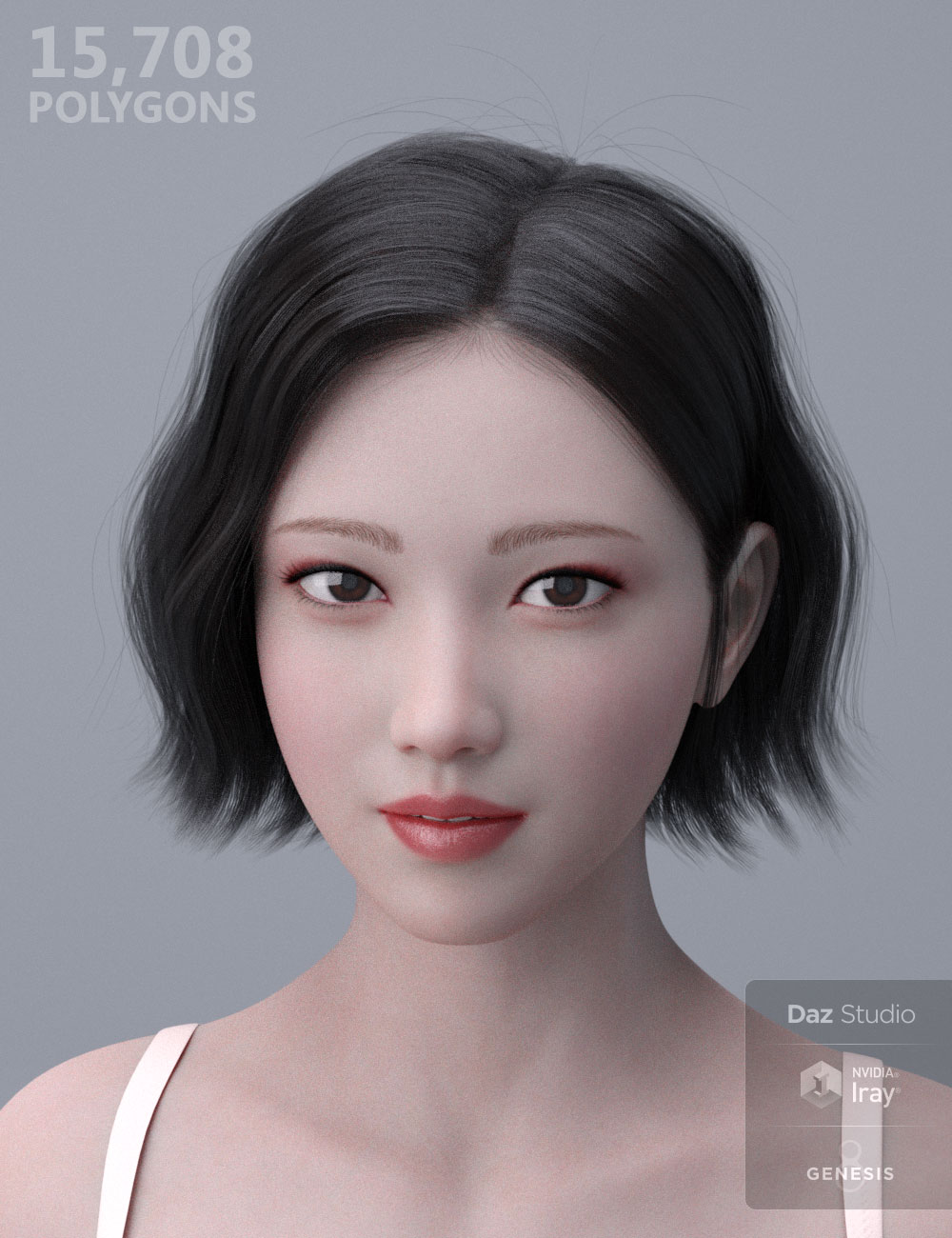 HY Wavy Bob Hair for Genesis 3 and 8 by: HerYun, 3D Models by Daz 3D