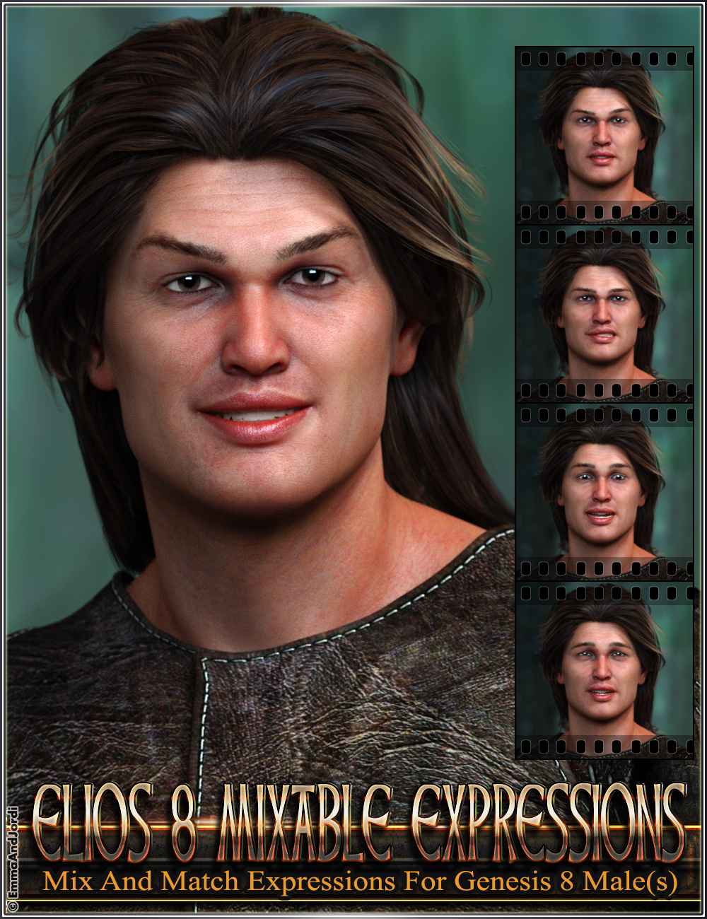 Mixable Expressions for Elios 8 and Genesis 8 Male(s) by: , 3D Models by Daz 3D