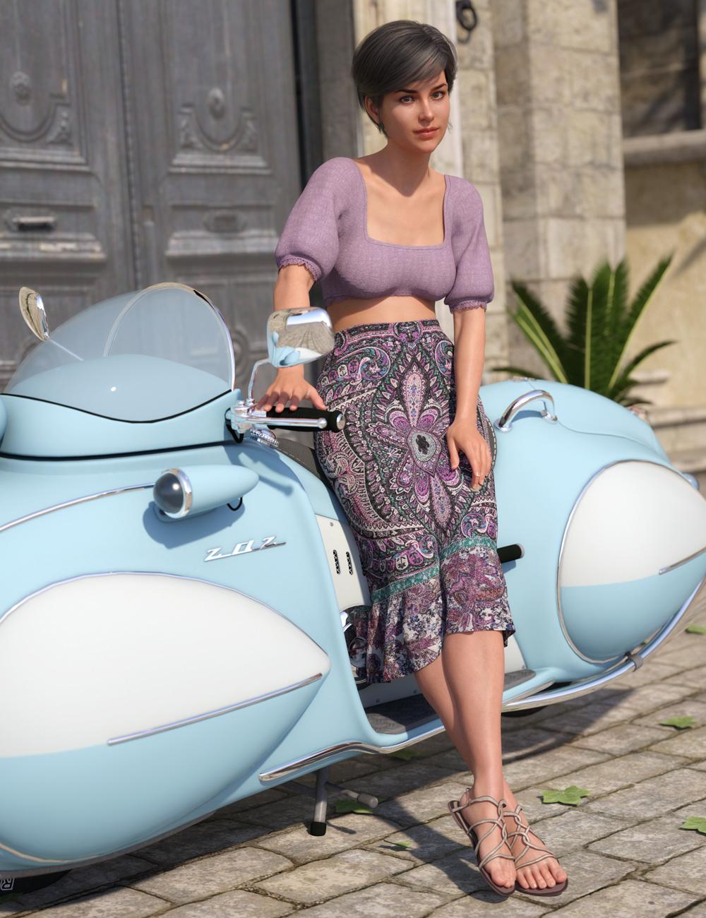 dForce Boho Ruffle Dress for Genesis 8 Female(s) by: Barbara BrundonDirtyFairy, 3D Models by Daz 3D