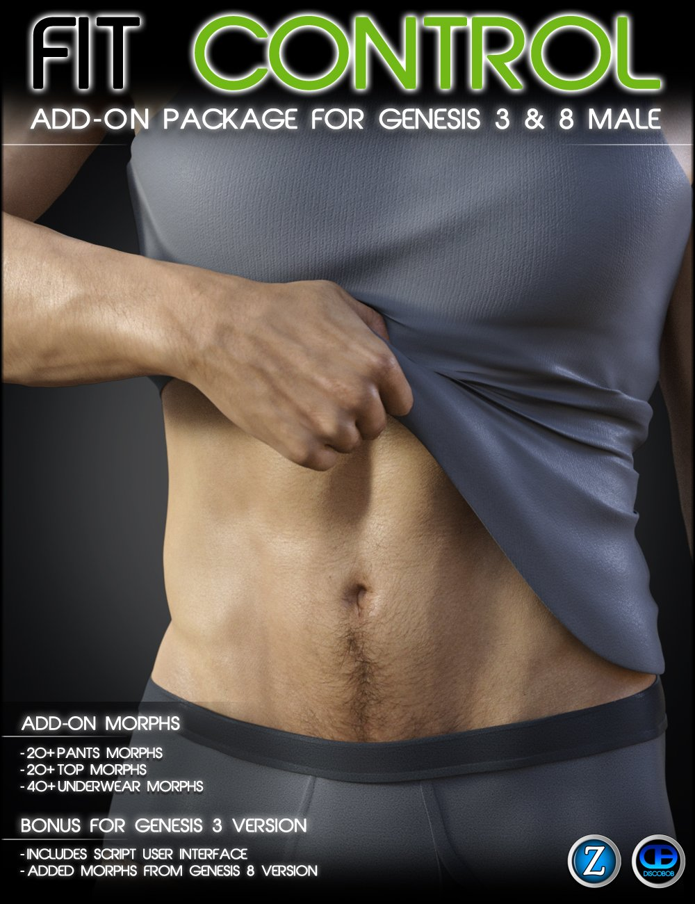 Fit Control Add-On for Genesis 3 & 8 Male by: Zev0Discobob, 3D Models by Daz 3D