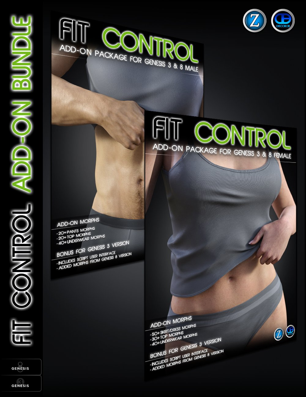 Fit Control Add-On for Genesis 3 and 8 Bundle by: Zev0Discobob, 3D Models by Daz 3D