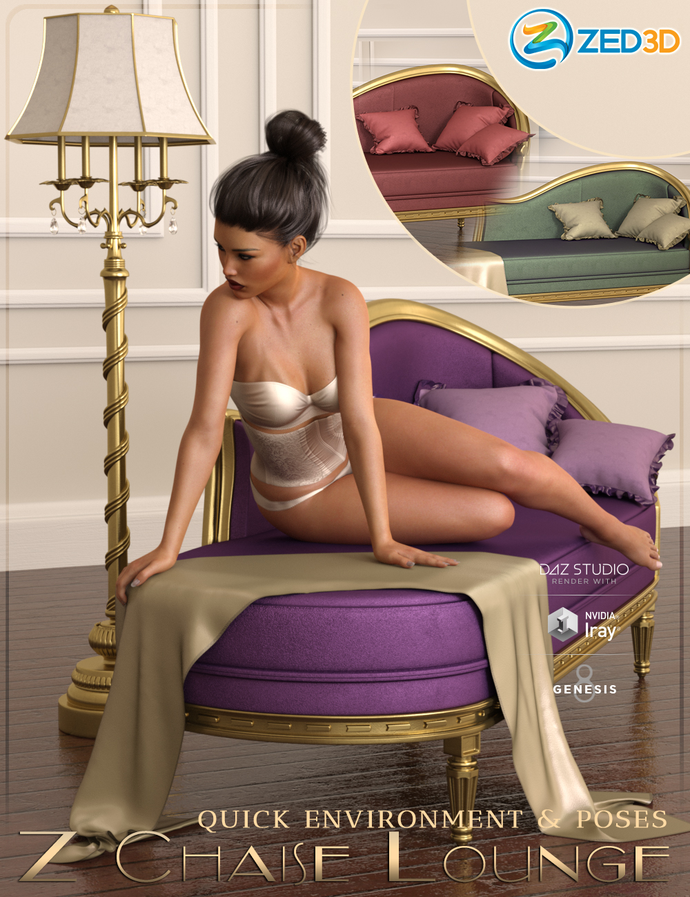 Z Chaise Lounge Quick Environment and Poses by: Zeddicuss, 3D Models by Daz 3D