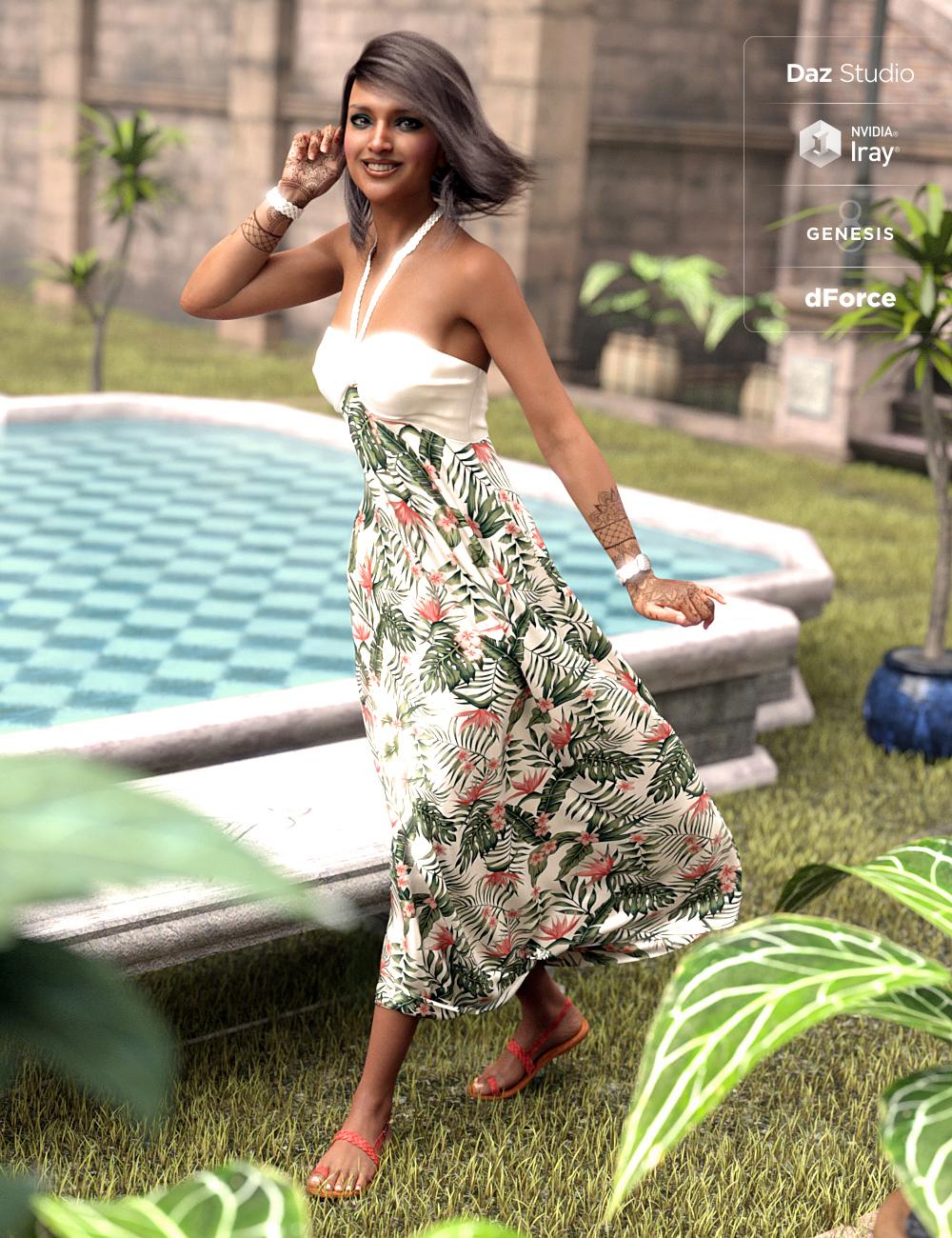 dForce Tropical Breeze Outfit for Genesis 8 Female(s) by: Moonscape GraphicsNikisatezSade, 3D Models by Daz 3D