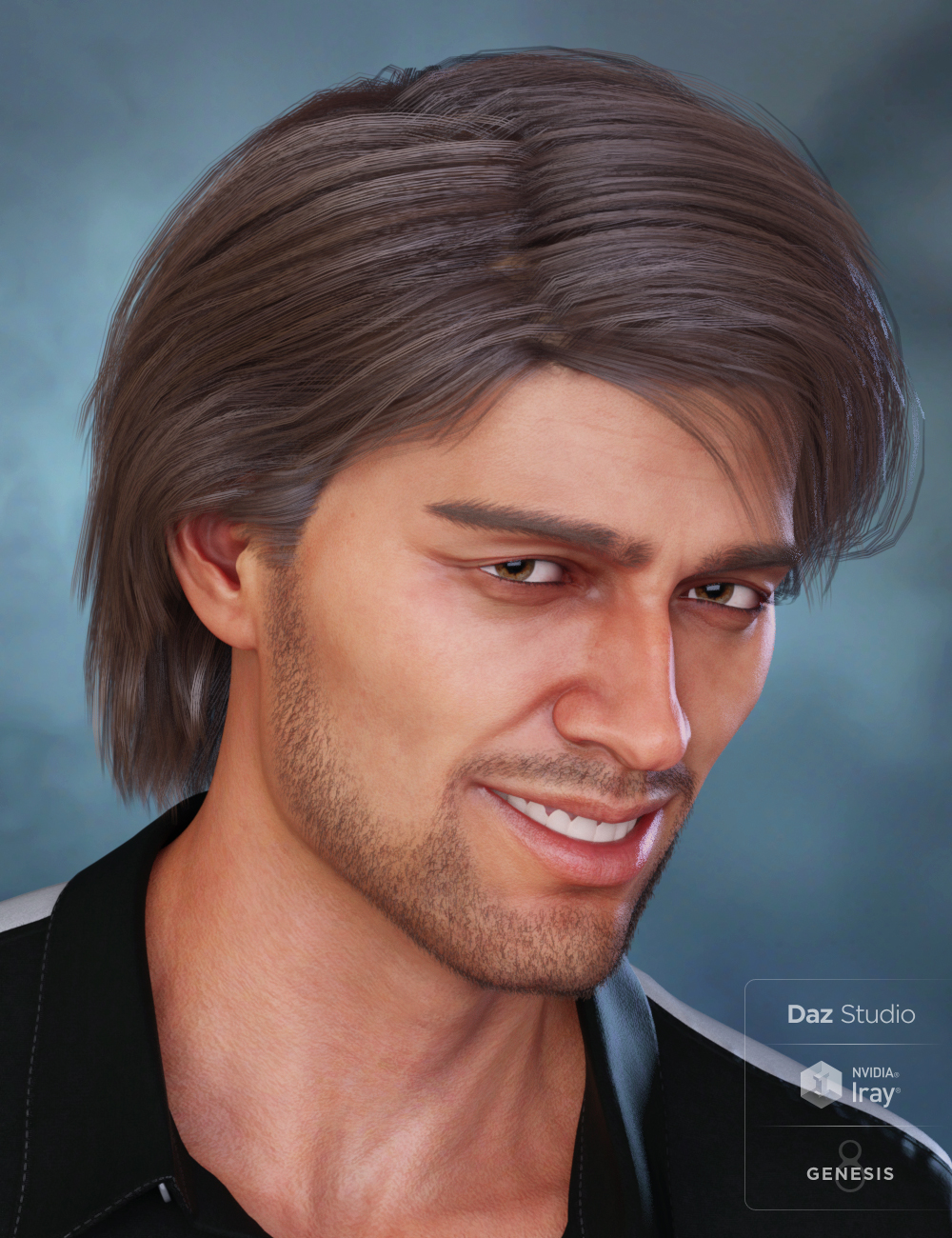 Jaggar Hair for Genesis 8 and Genesis 3 Male(s) by: 3DCelebrity, 3D Models by Daz 3D