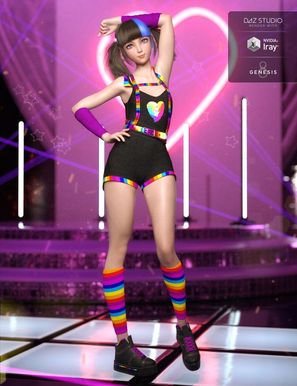 Playful Jumper Outfit for Genesis 8 Female(s) by: Anna BenjaminNikisatez, 3D Models by Daz 3D