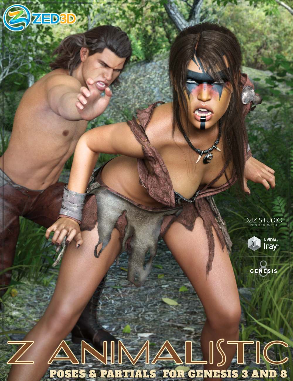 Z Animalistic Poses and Partials for Genesis 3 and 8 by: Zeddicuss, 3D Models by Daz 3D