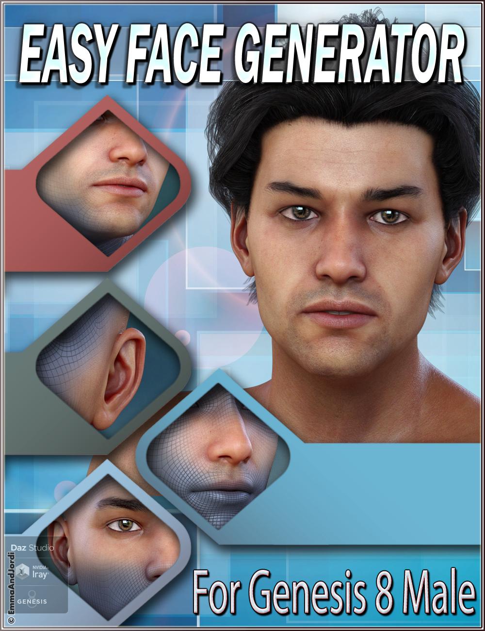 EJ Easy Face Generator For Genesis 8 Male(s) by: EmmaAndJordi, 3D Models by Daz 3D