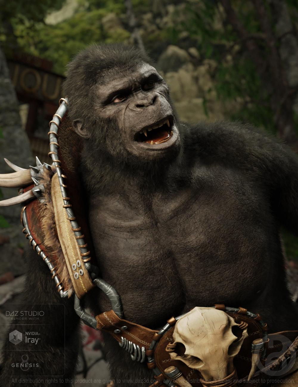 Ape World Gorilla for Genesis 8 Male by: RawArt, 3D Models by Daz 3D