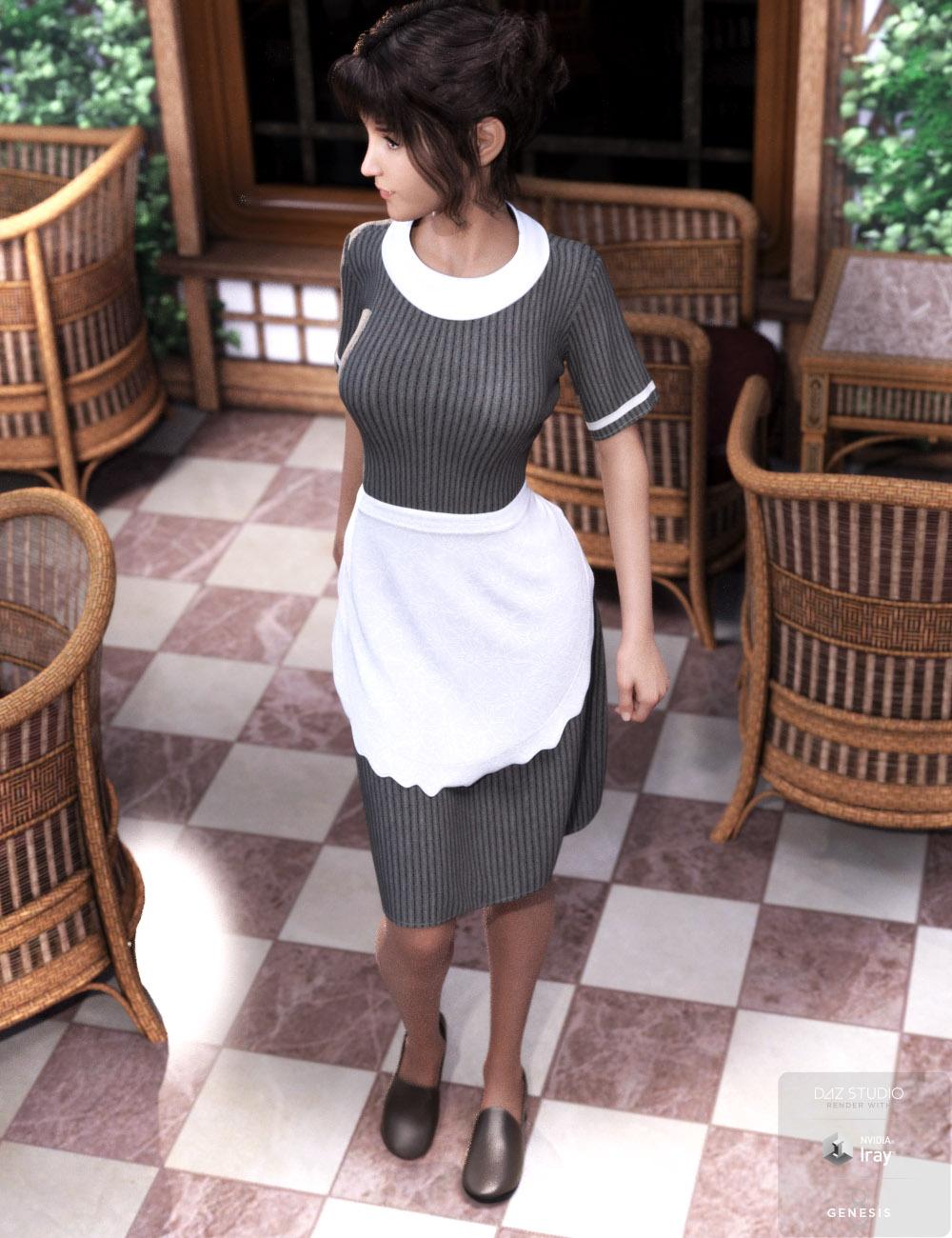 dForce Retro Waitress Uniform for Genesis 8 Female(s) by: tentman, 3D Models by Daz 3D
