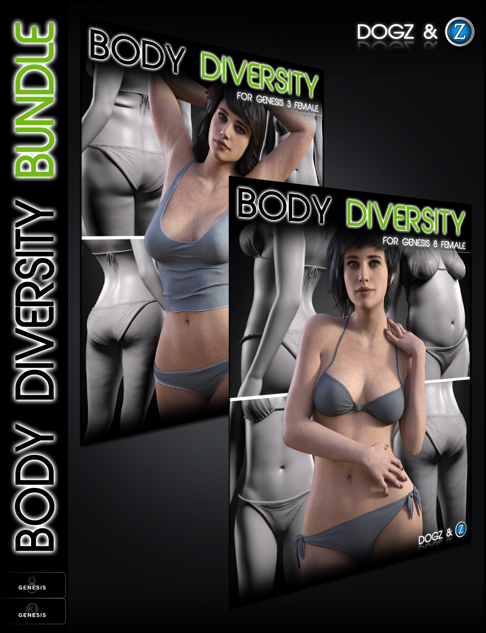Body Diversity Morphs Bundle for Genesis 3 & 8 Female(s) by: Zev0Dogz, 3D Models by Daz 3D