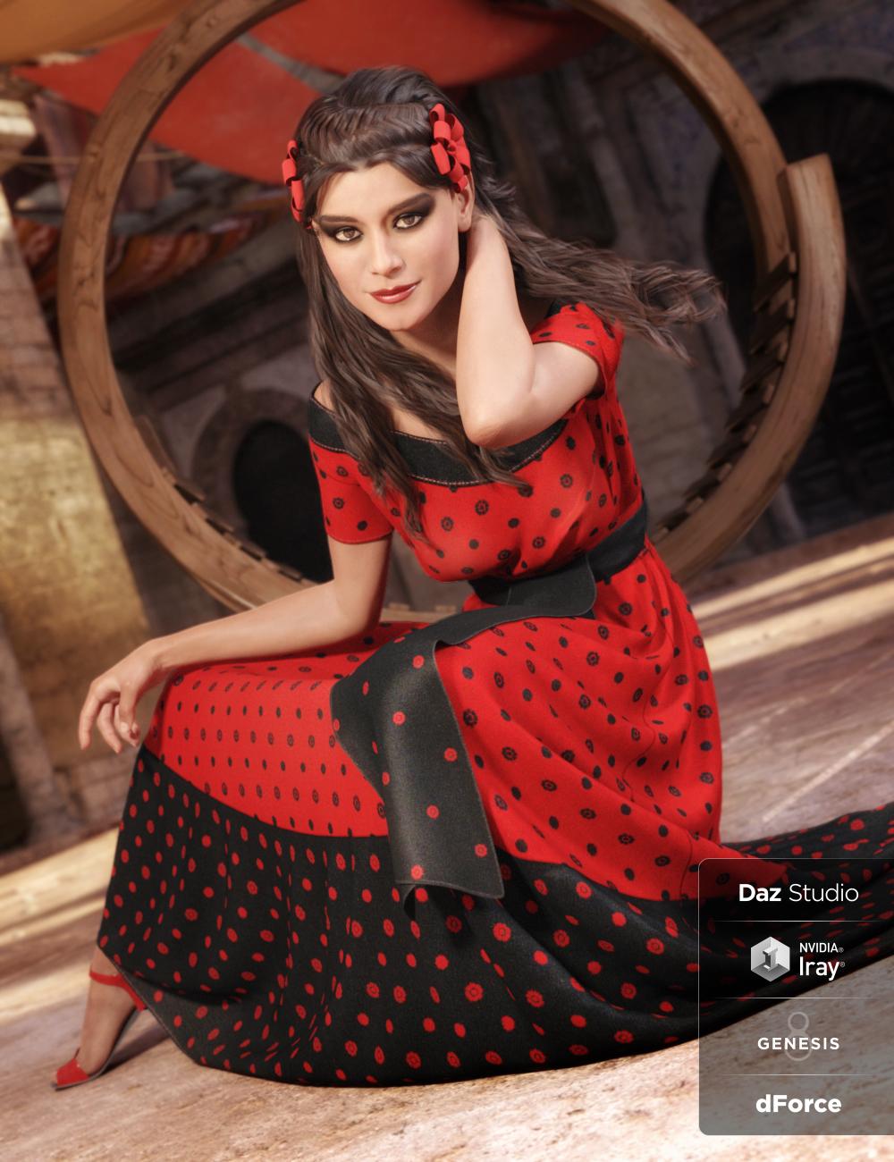 dForce Fiesta Outfit for Genesis 8 Female(s) by: ArienNikisatez, 3D Models by Daz 3D