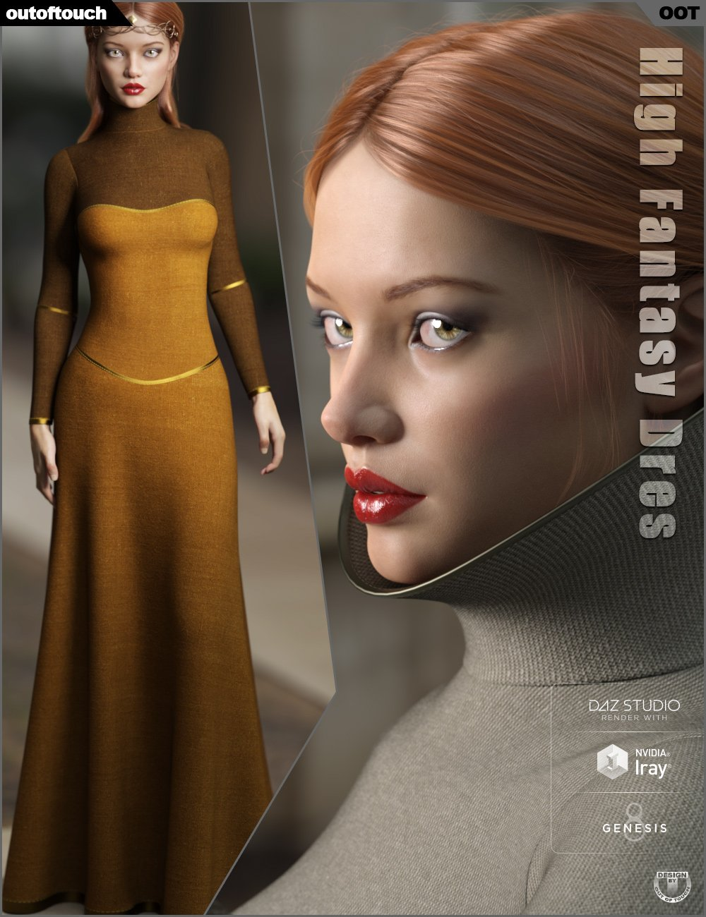 dForce High Fantasy Dress for Genesis 8 Female(s) by: outoftouch, 3D Models by Daz 3D