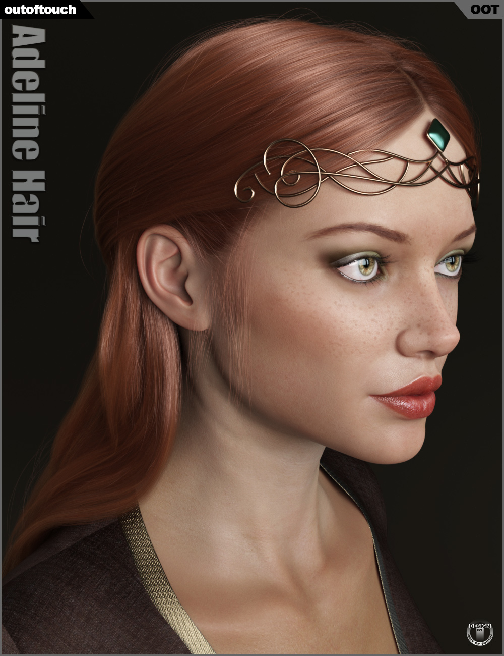 Adeline Hair and Circlets for Genesis 8 Female(s) by: outoftouch, 3D Models by Daz 3D