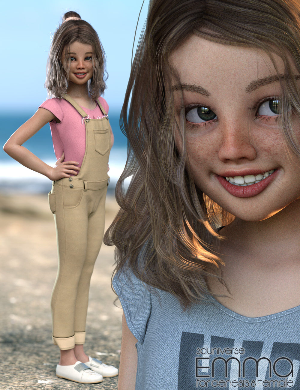 Emma Character, Hair, Clothing and Accessories for Genesis 8 Female(s) by: 3D Universe, 3D Models by Daz 3D