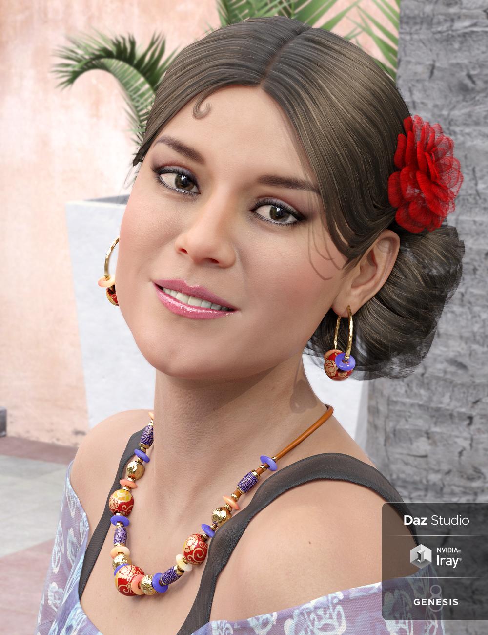 Salsa Hair for Gabriela 8 by: Propschick, 3D Models by Daz 3D