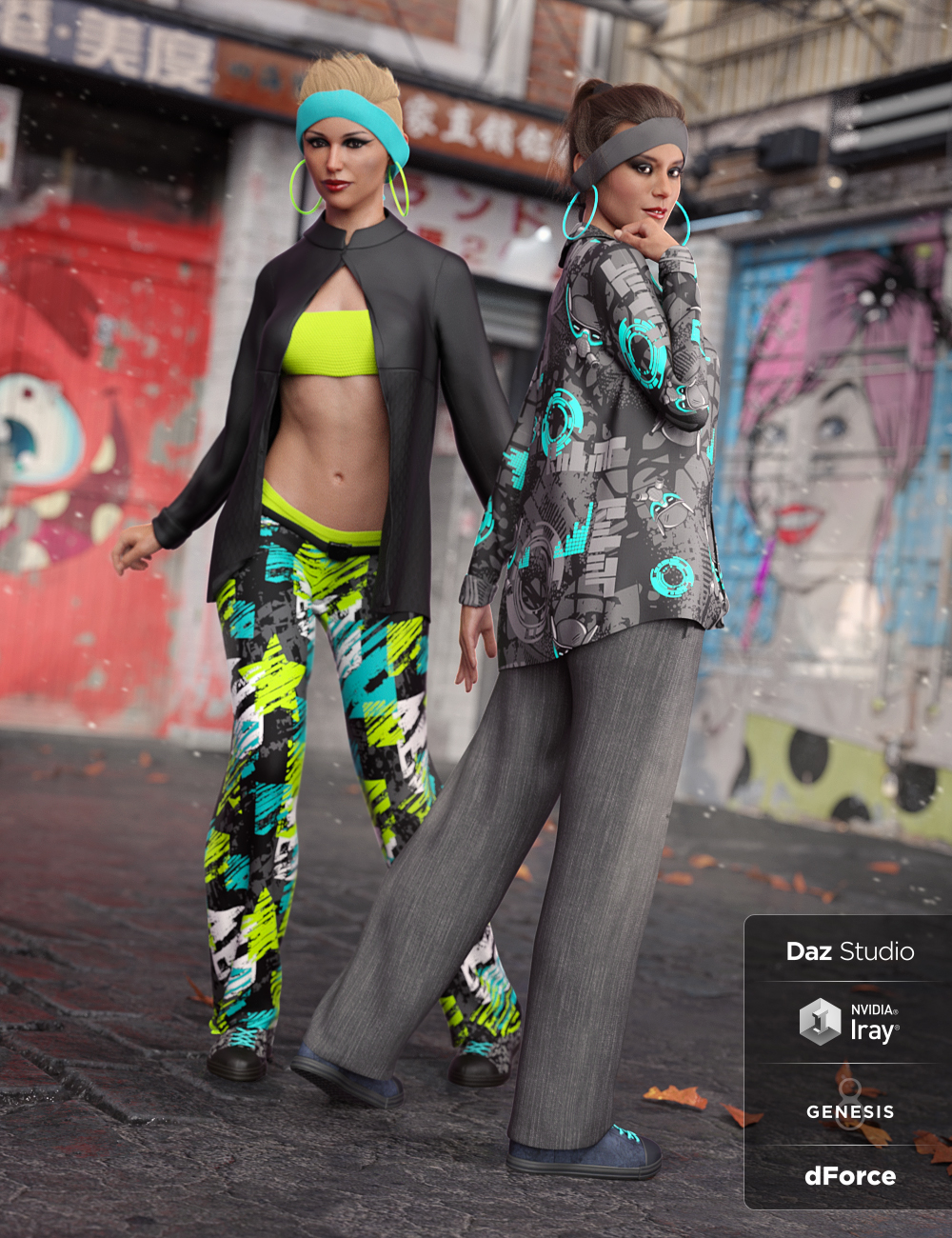 dForce Street Smarts Girl Outfit Textures by: Moonscape GraphicsSade, 3D Models by Daz 3D