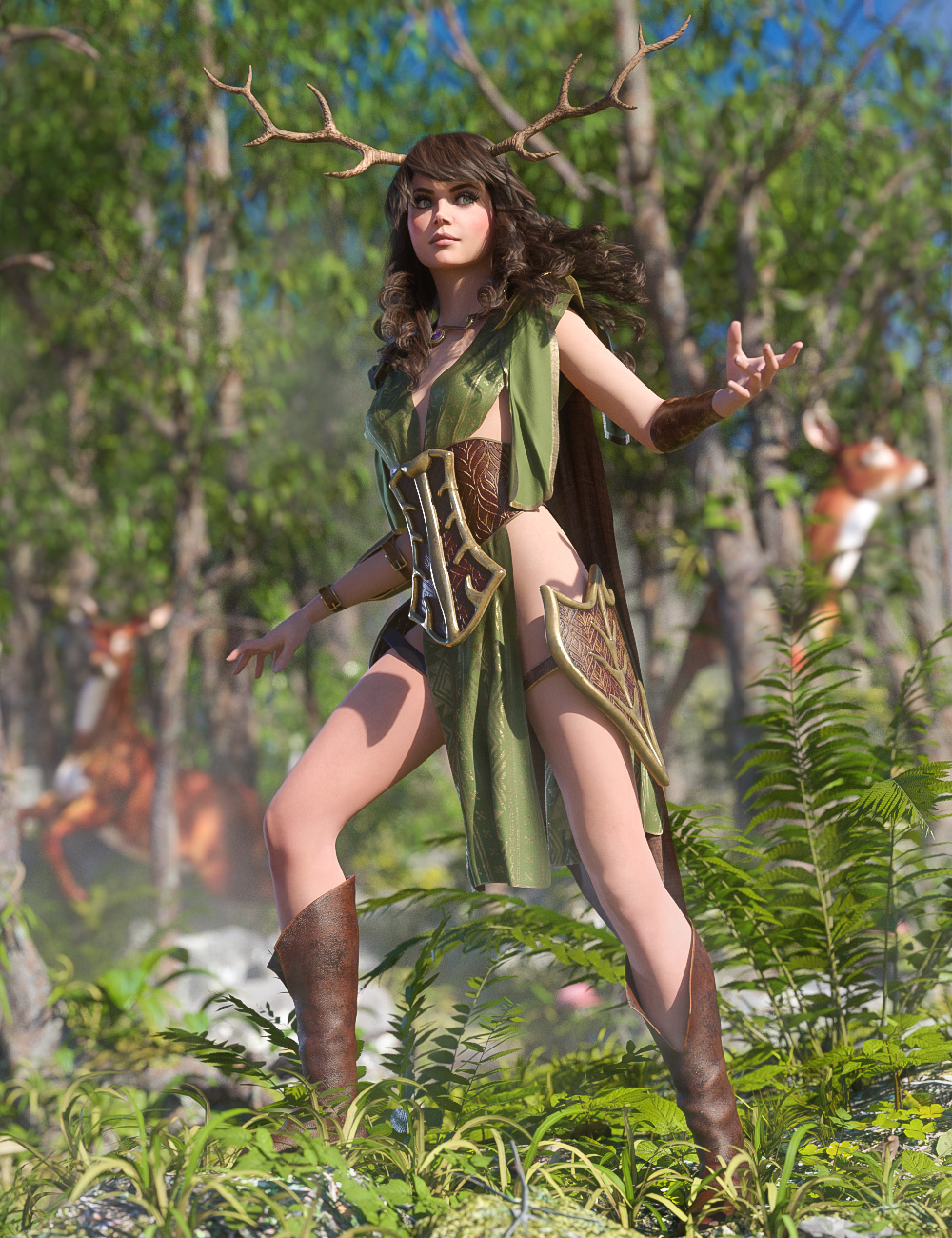 dForce Wood Warden for Genesis 8 Female(s) by: Moonscape GraphicsSade, 3D Models by Daz 3D