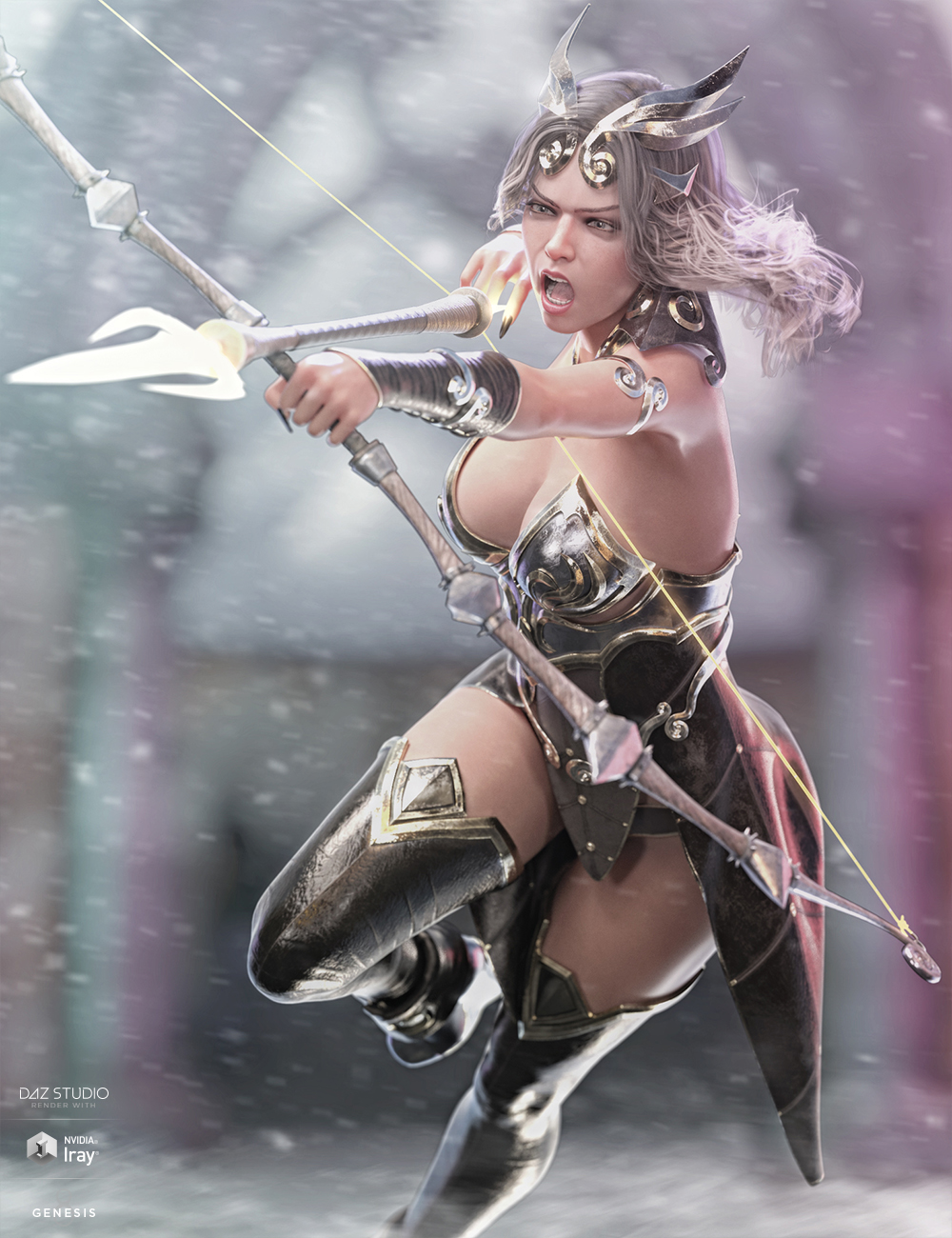 dForce Lightning Archer Outfit and Weapons by: HM, 3D Models by Daz 3D