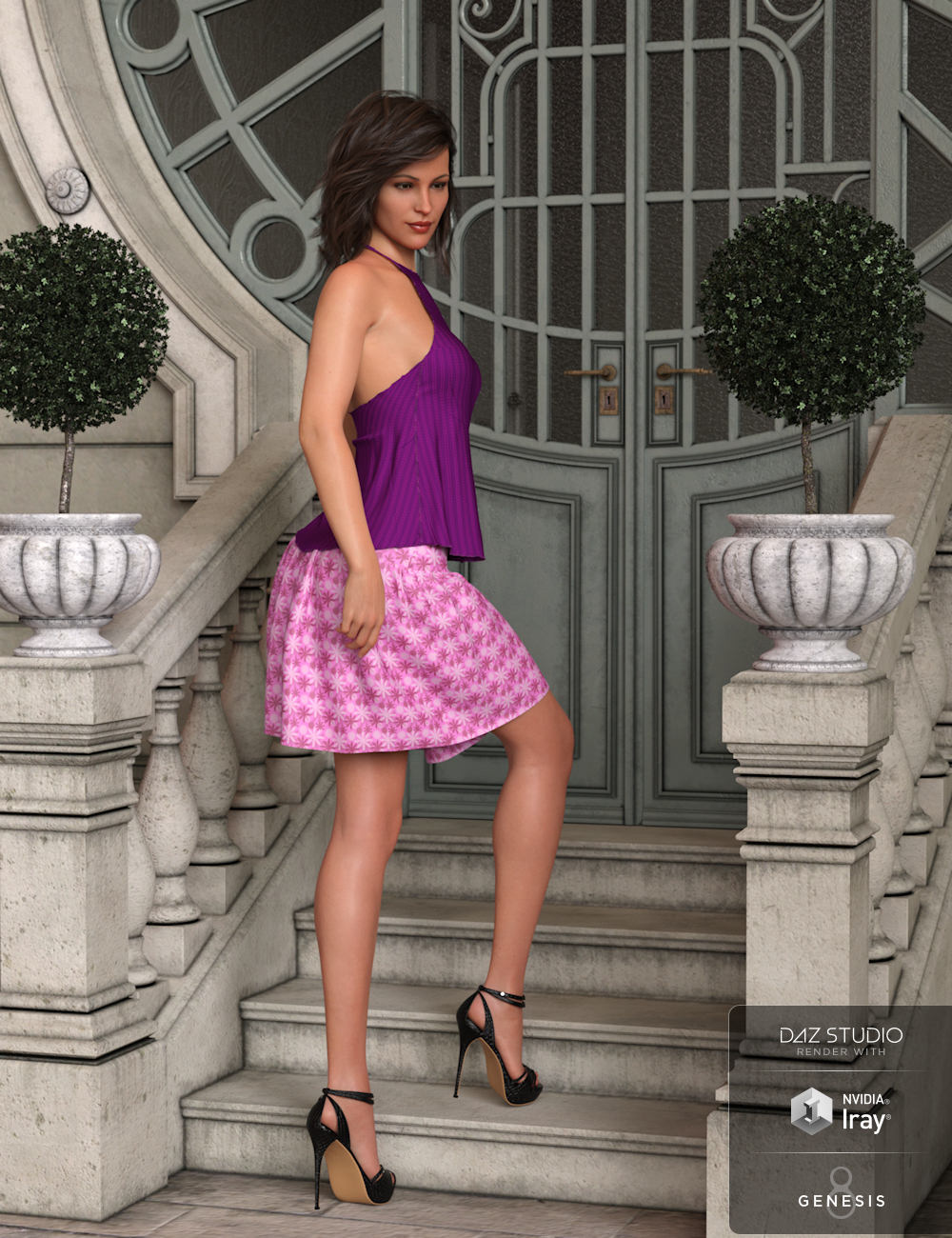 dForce Summertime Two Dress for Genesis 8 Females by: Aquarius, 3D Models by Daz 3D