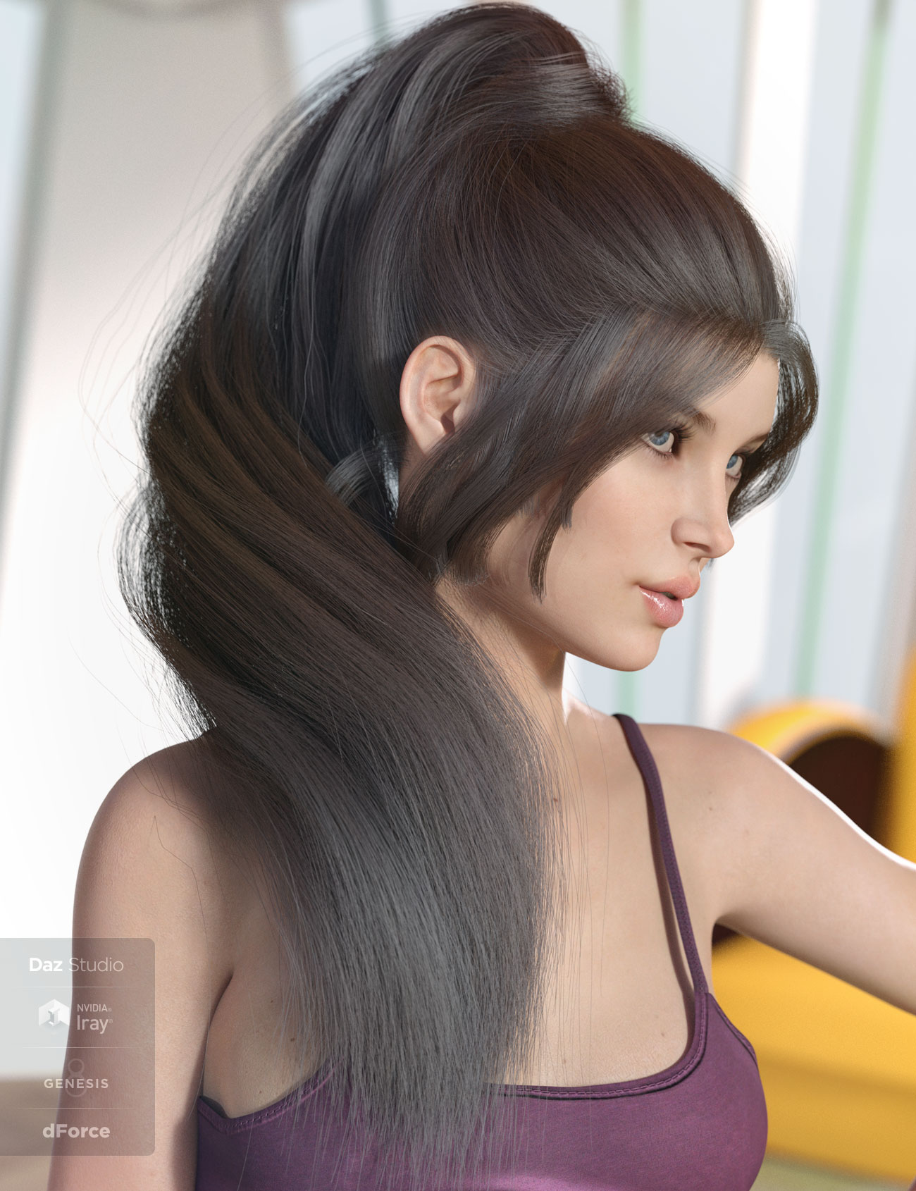 dForce Lea Hair for Genesis 3 and 8 Females(s) by: AprilYSH, 3D Models by Daz 3D