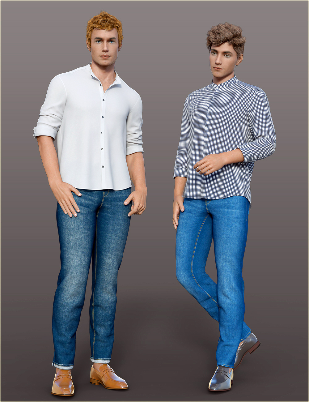 dForce H&C Mandarin Collar Shirt Outfit for Genesis 8 Male(s) by: IH Kang, 3D Models by Daz 3D