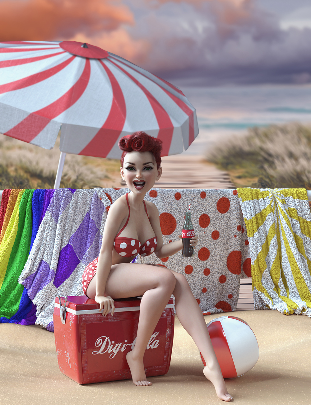Summer Vibes Vintage Props with dForce by: Skyewolf, 3D Models by Daz 3D