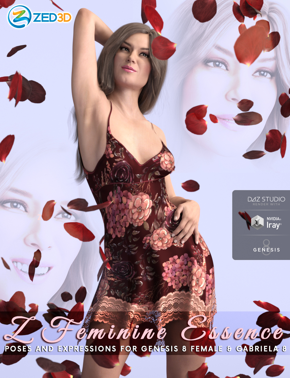 Z Feminine Essence Poses and Expressions for Genesis 8 Female and Gabriela 8 by: Zeddicuss, 3D Models by Daz 3D