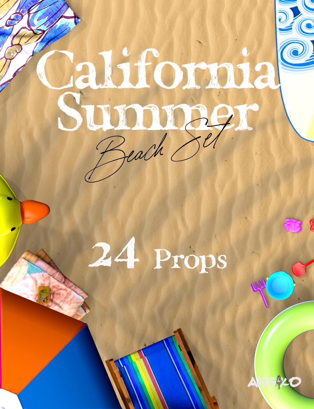 California Summer Beach Props by: Ansiko, 3D Models by Daz 3D