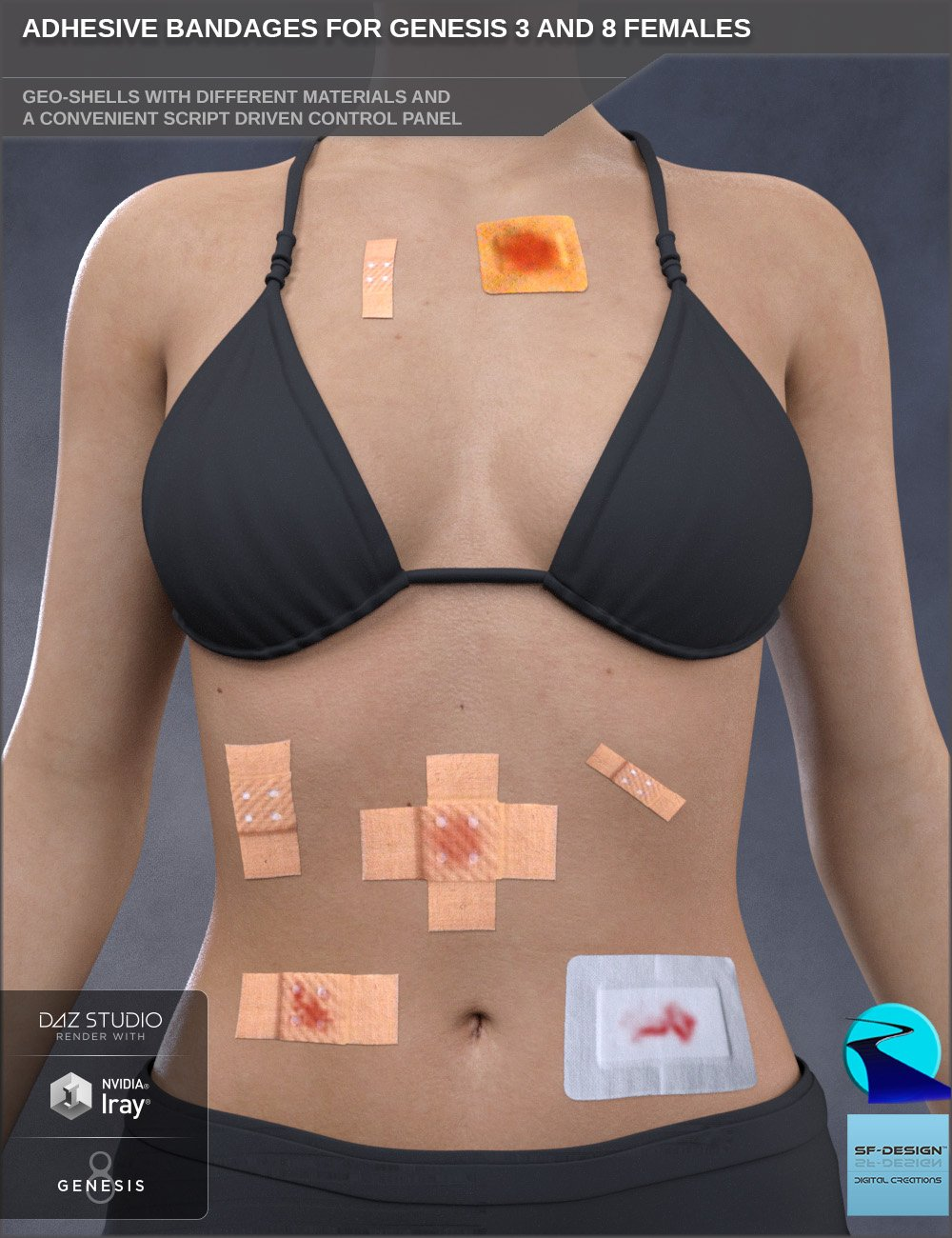 Adhesive Bandages for Genesis 3 and 8 Female(s) by: SF-DesignRiverSoft Art, 3D Models by Daz 3D