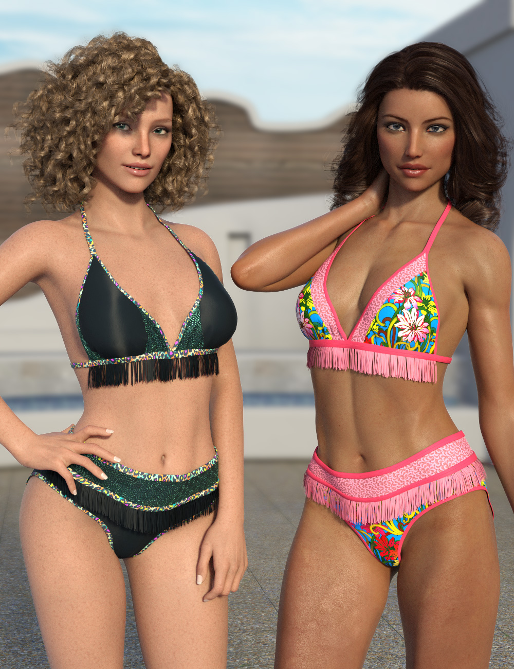 Fringe Bikini Texture Expansion by: esha, 3D Models by Daz 3D