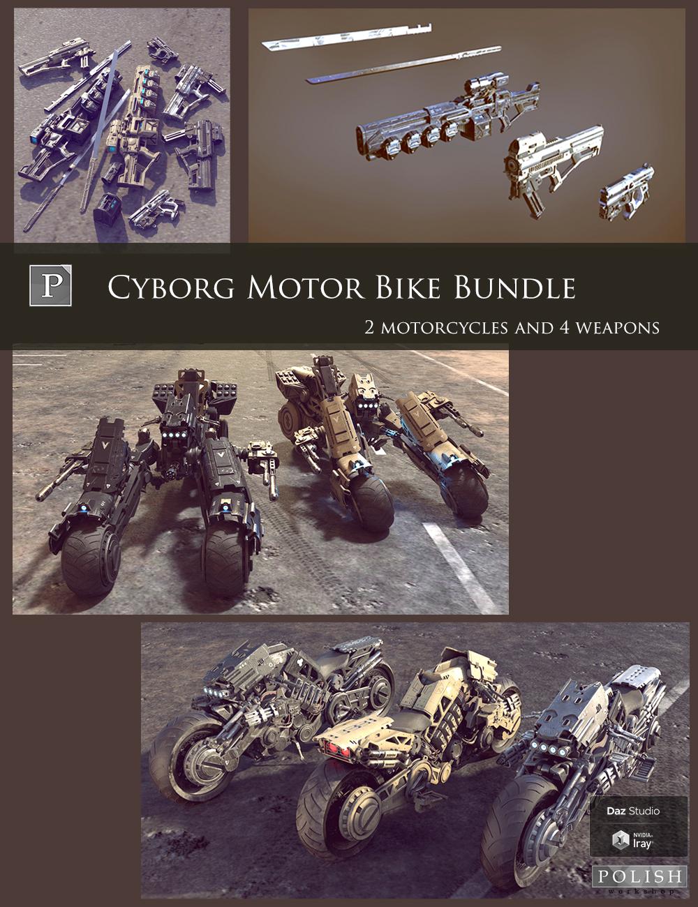 Cyborg Motor Bike Bundle by: Polish, 3D Models by Daz 3D