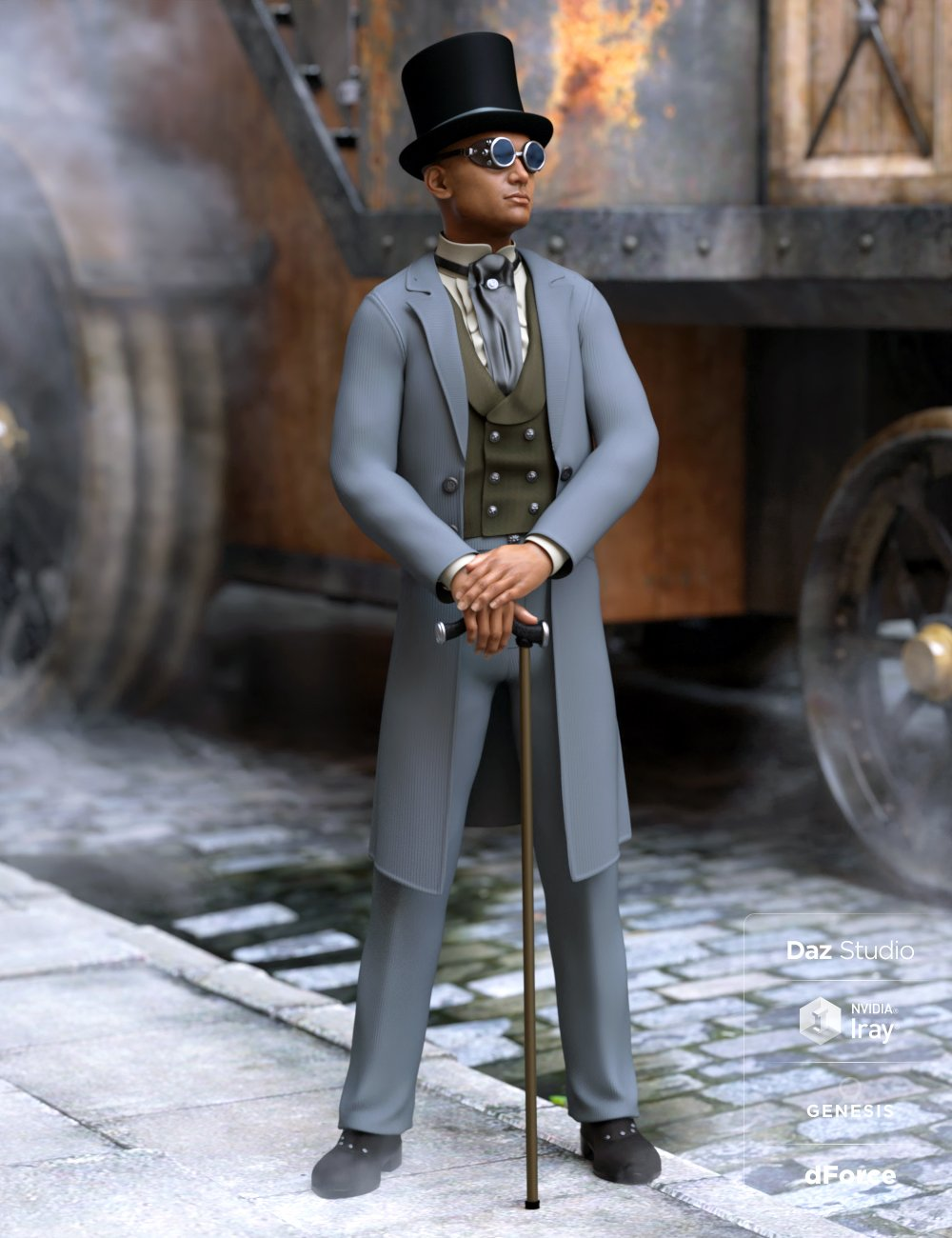 dForce Steampunk Classic for Genesis 8 Male(s) by: Ravenhair, 3D Models by Daz 3D