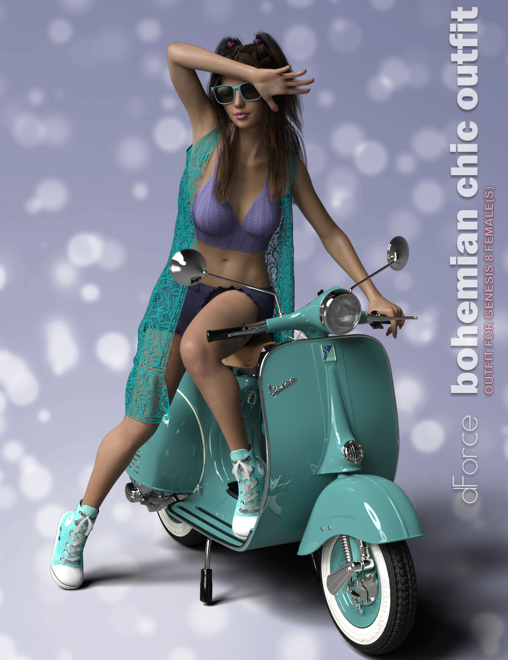 dForce P3D Bohemian Chic Outfit for Genesis 8 Female(s) by: P3Design, 3D Models by Daz 3D